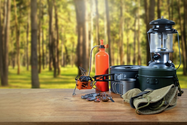 Equipment at the forest.