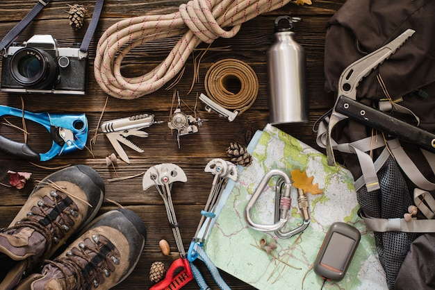 Equipment necessary for mountaineering and hiking