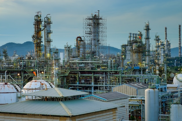 Equipment of petrochemical industrial plant with  aerial view