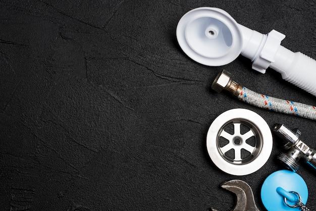 Equipment for plumbing on dark background