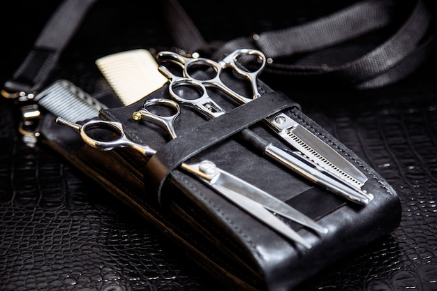 Equipment of professional hairdresser, closeup