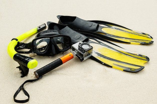 Equipment for snorkeling and action camera