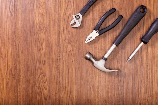 Equipment, tools on wood