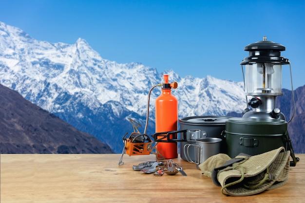 Equipment on top of the snow peak mountain.