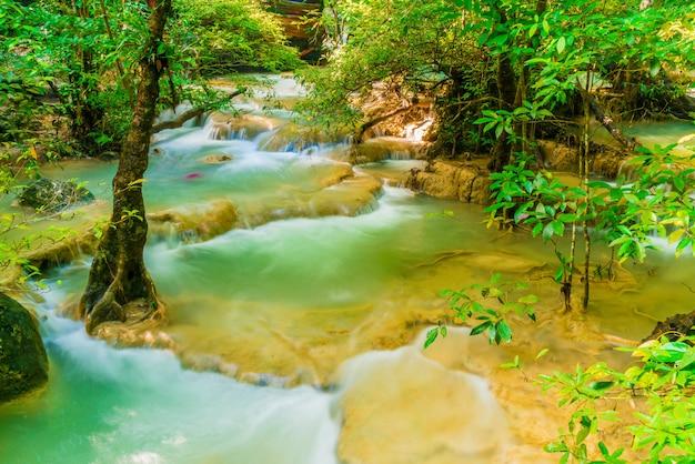 Erawan waterfall, erawan national park at kanchanaburi in thailand