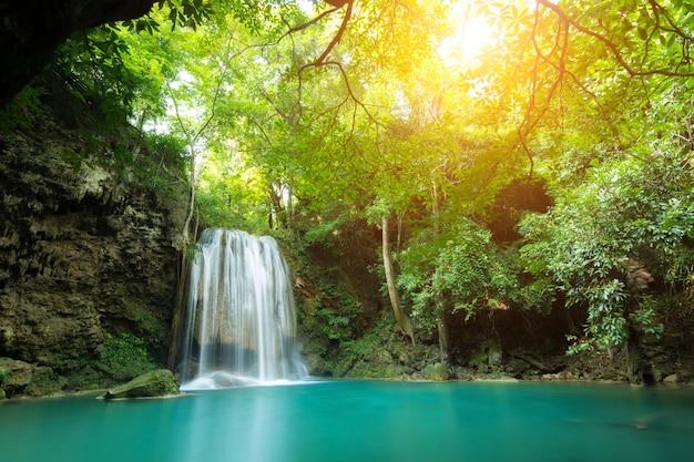 Erawan waterfall is a beautiful waterfall