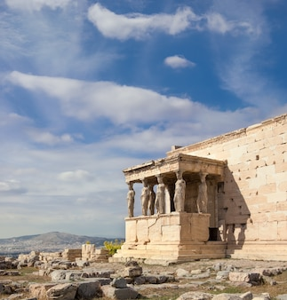 Erechtheion temple acropolis of athens with famous caryatides