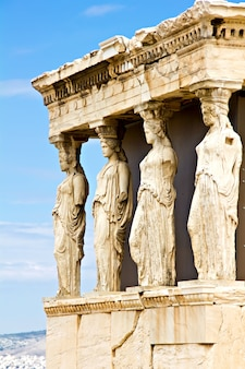 Erechtheum porch with the caryatids statues, athens greece