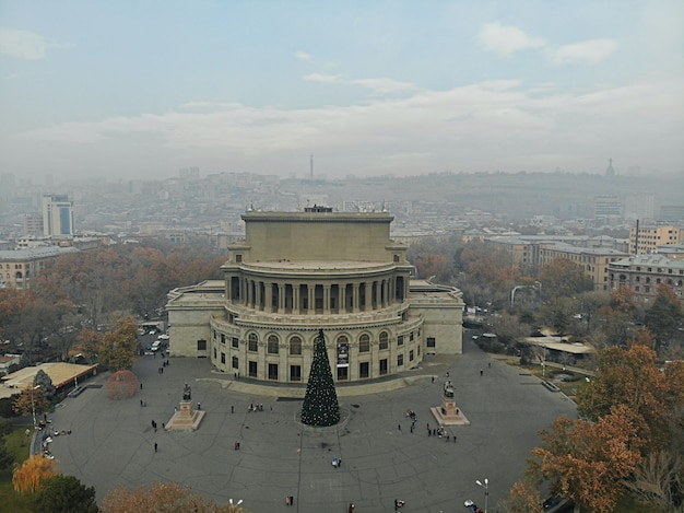 Erevan - the capital of caucasus country armenia. aerial view from above by drone. city centre, main boulevard and national opera house