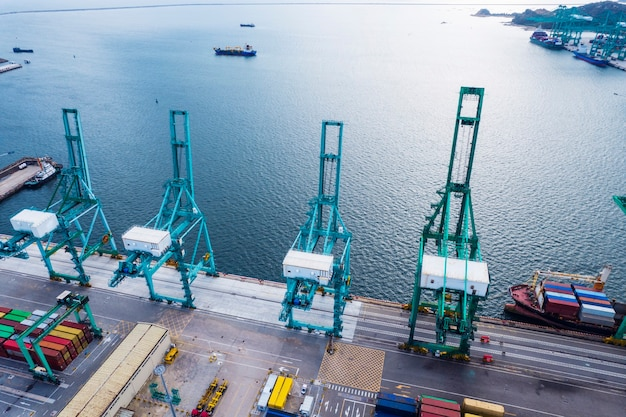 Erial photography of container terminal