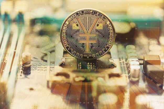 Золотая монета ermb китайский цифровой юань концептуальное изображение цифровой версии юаня китайская децентрализованная валюта на борту и схемах