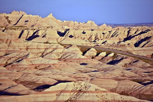Eroded sandstone in badlands