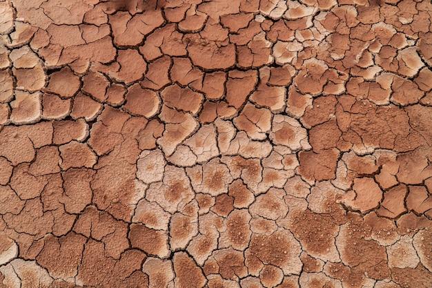균열 침식, 거칠고 건조한 진흙 배경
