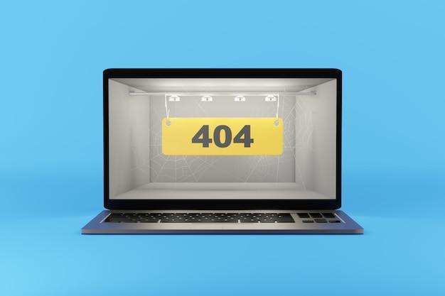 Error 404 on the computer screen 3d rendering.