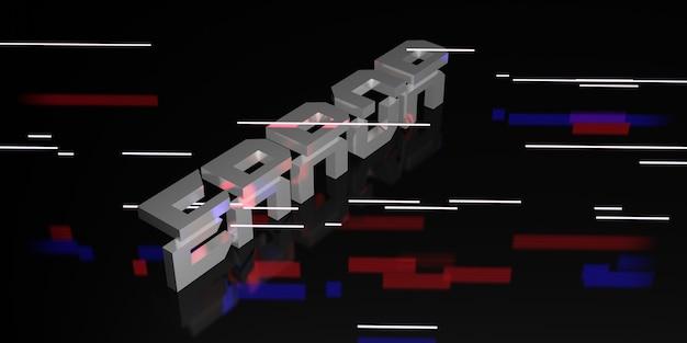 Сообщение об ошибке на черном фоне и неоновый свет лазерного луча 3d иллюстрации
