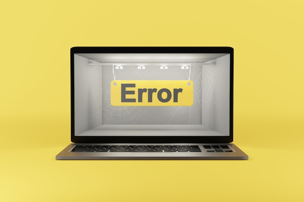 Error - text on the computer screen. 3d rendering.