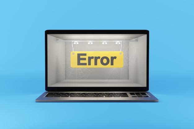 Ошибка - текст на экране компьютера. 3d-рендеринг.
