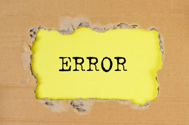 Error word inscription. concept of failure and mistake.