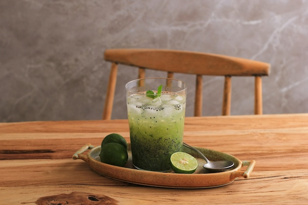 Es timun serut, indonesian refreshment drink made from shredded cucumber and lime