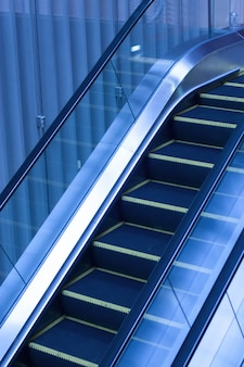 Escalators inside an office building