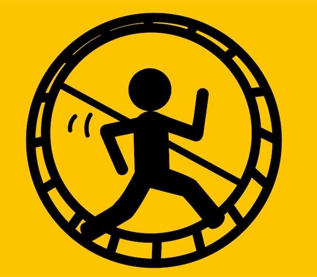 ラットレースからの脱出:ハムスターの車輪で走っている男のビジネスコンセプト