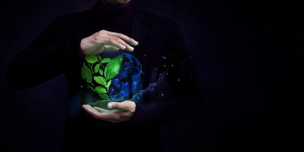 Esg concept nature meet technology green leaf as heart shape protected by gentle gesture