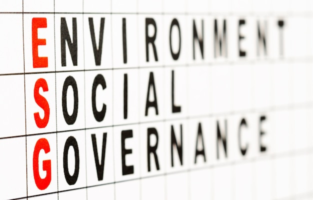 Esg. environmental social and governance business concept. text on paper. selective focus, side view