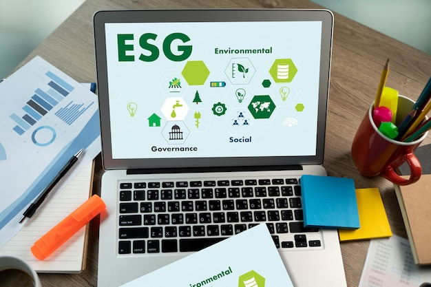 Esg environmental social and governance sustainable to businessman strategy esg