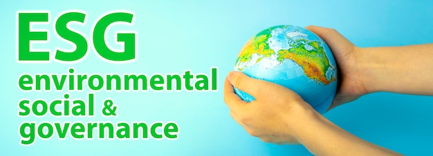 Esg modernization environmental social governance conservation and csr policy earth globe in hands