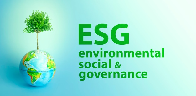 Esg modernization environmental social governance conservation and csr policy earth globe with growi...