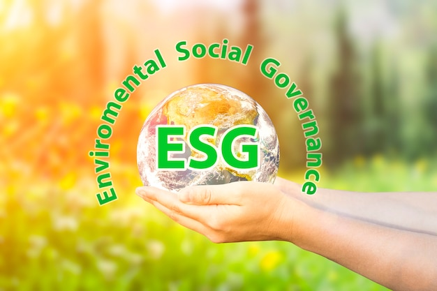 Esg modernization environmental social governance conservation and csr policy planet earth in hands ...