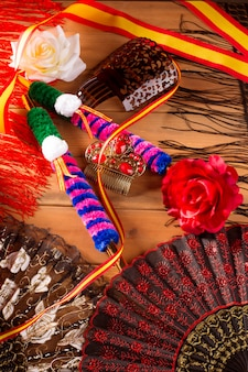 Espana from spain with flag rose fan flamenco comb
