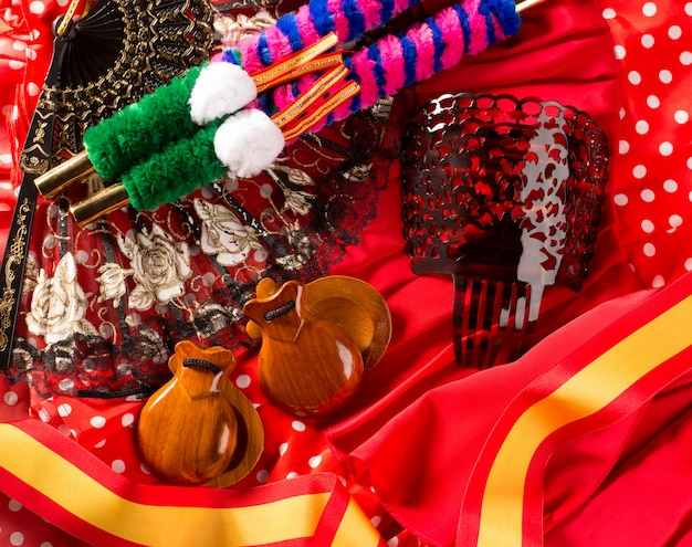 Espana typical from spain castanets rose flamenco fan