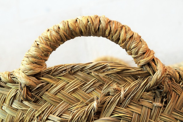 Esparto grass handcraft basket handle texture