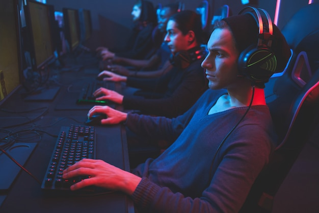 Esports player concentrated on game