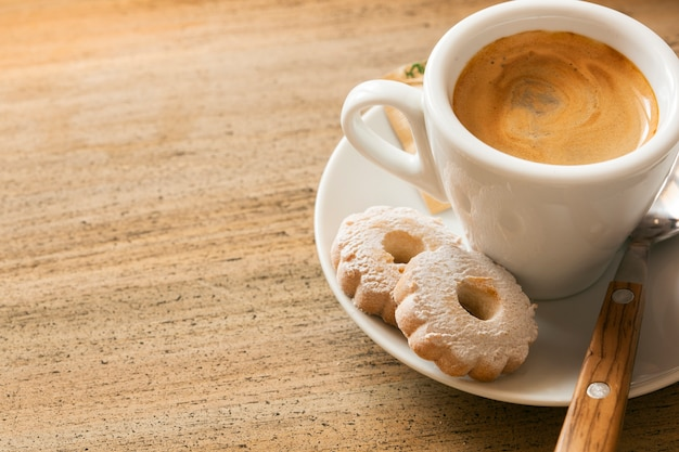 Espresso and biscuits with copy space