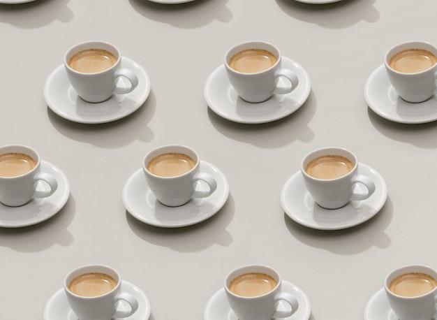 Шаблон чашки кофе эспрессо на сером фоне