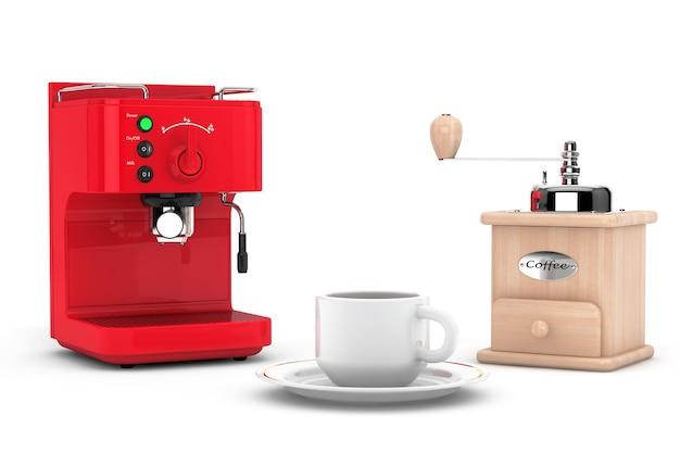 Кофеварка эспрессо с деревянной мельницей и чашкой на белом фоне. 3d рендеринг