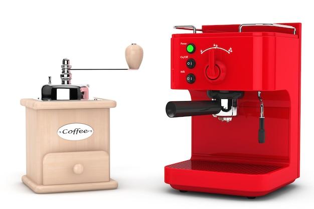 Кофеварка эспрессо с деревянной мельницей кофе на белой предпосылке. 3d рендеринг