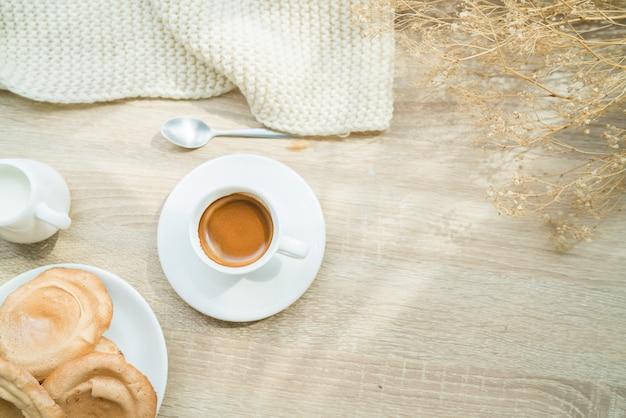Espresso coffee in the morning.