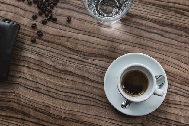 Espresso coffee on table aerial