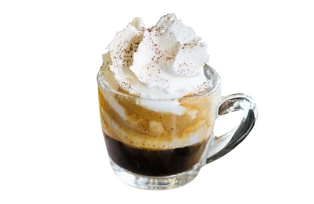 Espresso con panna, espresso with whipping cream isolated