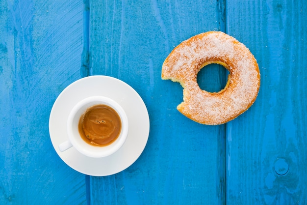 Espresso with glazed donut