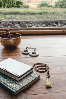 Essential accessories for practice yoga and meditation. copy space