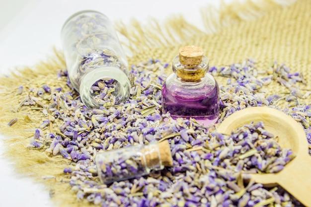 Essential oil of lavender. selective focus. nature bio flowers.