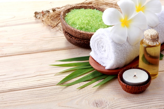 Essential oil and minerals salt. spa products
