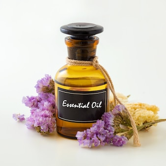 Essential oil on white background