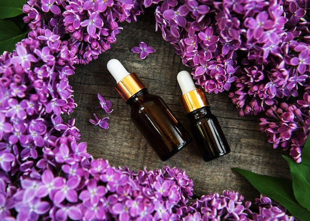 Essential oil with lilac flowers