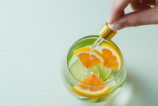 오렌지 에센셜 오일 - 비타민 c. 자연 요법, 드롭 비타민 c - 점적기.
