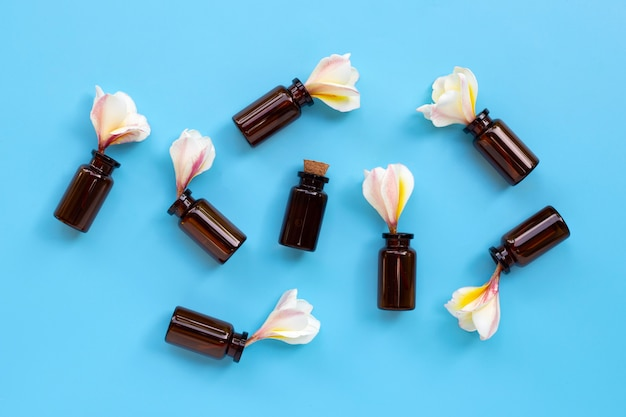 Essential oil with plumeria or frangipani flower on blue background.